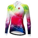 Radtrikot Damen Langarm Top Sport Mountainbike Shirt Fahrradjacke - Mehrfarbig - Mittel