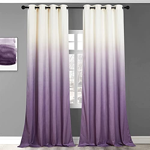 StangH Purple Ombre Curtains Velvet - Nursery Kids Room Curtains 84 inches Long Gradients Printed Window Curtains for Bedroom Thermal Insulated Cute Home Decor, White to Purple, W50 x L84, 2 Panels