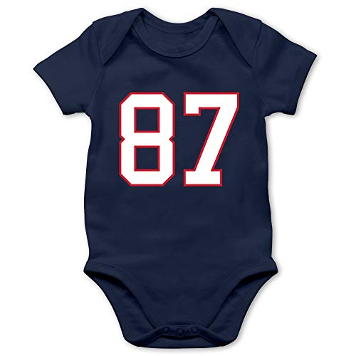 Sport Baby - Football New England 87-3/6 Monate - Navy Blau - Baby Football Strampler - BZ10 - Baby Body Kurzarm für Jungen und Mädchen