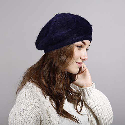 Sombrero de Piel de Conejo Boina de Color sólido Coreano Felpa Femenina Casual Todo-fósforo Pintor Sombrero Boina Sombrero