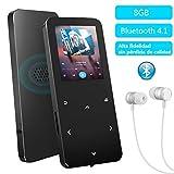 8GB Bluetooth 4.1 MP4 Reproductor con Pantalla TFT de 1.8 Pulgadas, Reproductor de música Deportivo con Panel táctil,Radio FM,Grabador de Voz, Auriculares,Altavoz,Soporta Tarjetas SD de hasta32GB