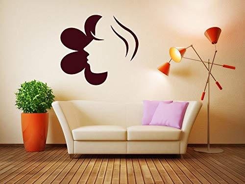 Tianpengyuanshuai Friseursalon wandtattoo schönheitssalon wandbild Zimmer mädchen Gesicht und Blume wandaufkleber Muster wasserdicht abnehmbare 63x69cm