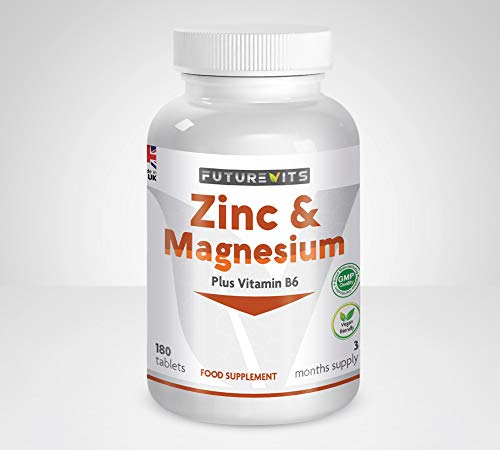 Zinc and Magnesium Tablets High Strength Magnesium 375mg with Added Vitamin B6 Vegan Free ZMA Supplement Made UK Futurevits 3 Month Supply.