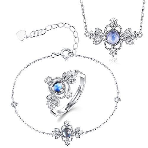 Kunze Conjuntos de Brazalete/Anillo/Collar de joyería para Mujer, Zircon de Zafiro Azul, Plata de Ley 925, Juego de joyería con Colgante de diseño Vintage, con Exquisita Caja de Regalo