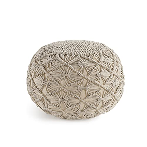 Casa Platino Pouf Ottoman Hand Knitted Cable Style Dori Pouf - Macramé Pouf - Floor Ottoman - Cotton Braid Cord - Handmade & Hand Stitched - Truly One of A...