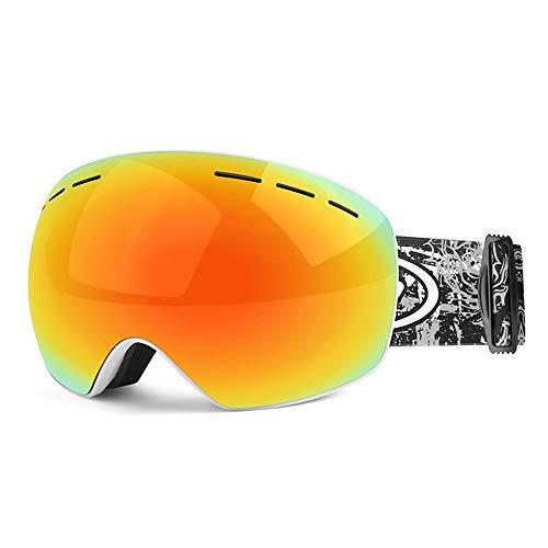 JHKGY Gafas De Esquí,Gafas De Nieve con Protección 100% UV400,Lente De Espejo REVO Completa,Lente Doble Intercambiable,Antivaho, Resistente A Impactos, para Hombres Mujeres Jóvenes,C