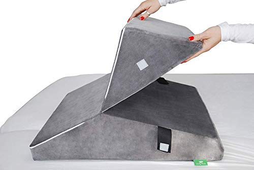 Memory-Foam-Bed-Wedge-Pillow-15-Inch-Triangle-Sleeping-Pillow-with-Removable-Cover–Folding-Breathable-Incline-Cushion-for-Anti-Snoring-Sleeping-Reading-Lower-and-Upper-Back-Pain–Washable