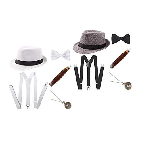 SM SunniMix 2 Juegos de Disfraces de Charleston Disfraz de Carnaval de Los años 20 Disfraz de Hombre con Sombrero Fedora - Blanco + Gris