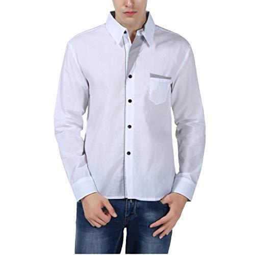 Camisa de Manga Larga para Hombre Camisa de Manga Larga Informal de Gran tamaño de Color sólido Simple Camisa de un Solo Pecho de Negocios de Todo fósforo 3XL