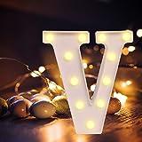 Lettere dell'alfabeto luminose a LED, luce bianca calda, decorazione per casa, feste, bar, matrimoni, festival. V