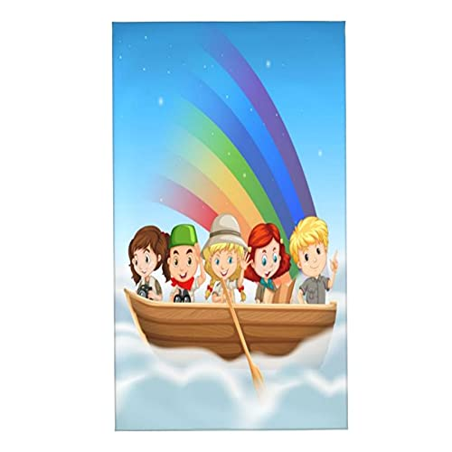 CIKYOWAY Juegos de Toallas Niños Felices Montando en Bote sobre el Arco Iris Toallas de Mano multipropósito para baño,Manos,Cara,Gimnasio y SPA Absorbente Suave 40x70cm