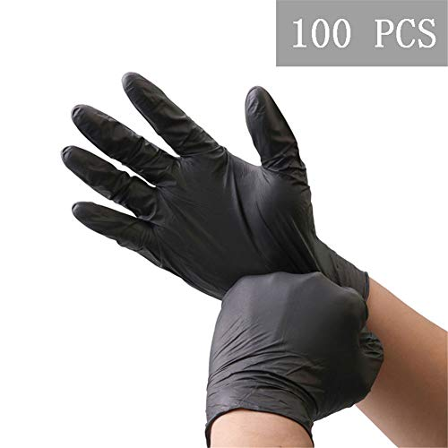 Nitrile Gloves Food Grade Waterproof Allergy Free Disposable Work Safety Gloves, 100 Pcs(Black)