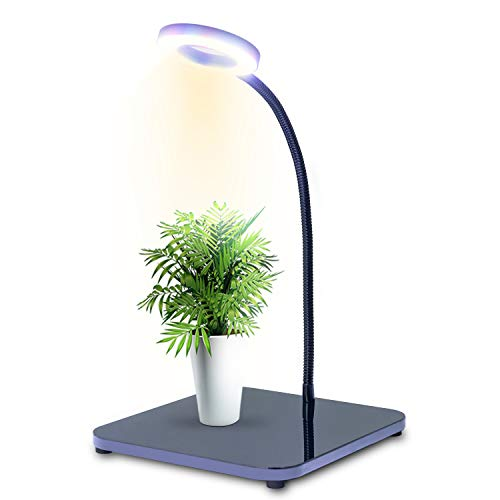 LED Grow Light for Indoor Plant, Full Spectrum Red Blue White Plant Grow Light with Adjustable Gooseneck Auto Off 3/6/12/24Hrs Timer, Seedling Blooming Office Mini Grow Light, Black,40W