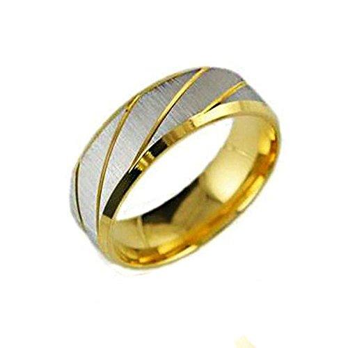 Beglie Ring Herren Edelstahl Band Ring Punk Style 7MM Breit Stripes Herren Bandringe Hochzeit Engagement Ring Gold Ringe Herren Versage Größe 54 (17.2)