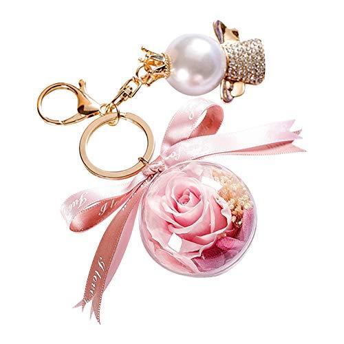 Doubleer Ewiger Blumen-Schlüsselanhänger mit Schleife und Perle/Schlüsselring, ewiger Blumenhandtasche und Autoanhänger als Geschenk für Frauen, Mädchen, Mütter zum Valentinstag, Muttertag