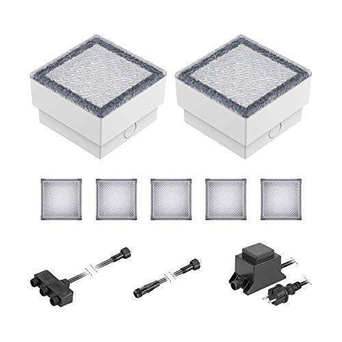 ledscom.de LED Pflaster-Stein Gorgon Boden-Einbauleuchte für außen, 10x10cm, 12V, warm-weiß 7er Set