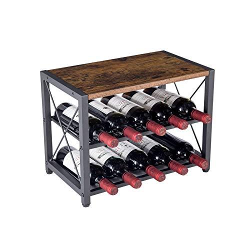 AUGSMIAR Estante rústico para vino con 10 botellas de madera y hierro de 2 niveles, 44,2 cm de largo x 26,2 cm de ancho x 33 cm de alto, estante de almacenamiento de vino
