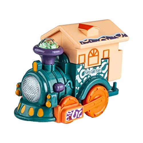 dontdo Juguete de tren de control de voz de inducción juguete de tren pequeño juguete de larga duración portátil resistente a las caídas creativo pequeño tren juguete para el hogar azul