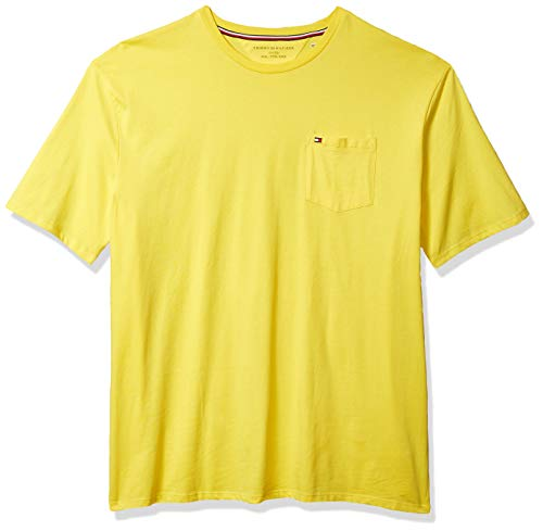 Tommy Hilfiger Men's Short Sleeve Crewneck T Shirt with Pocket, Lemon Zest, XX-Large
