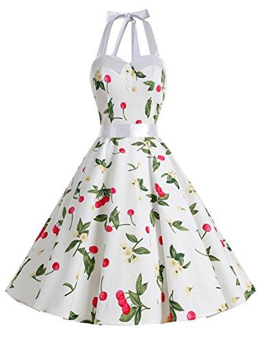 Dressystar, abito vintage a pois, stile rockabilly, anni '50, anni '60, con allacciatura al collo C-bianco ciliegia. XL
