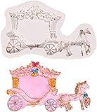 hwljxn Royal Wedding Carriage Silicone Fondant Molds Partido de la Princesa para la fabricación de Joyas, la fabricación de Velas de aromaterapia y los proyectos de elaboración
