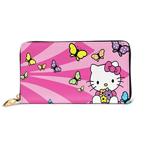 Cuero Embrague Hello Kitty Rosa Dulce Cartera Cremallera Mujeres Moda Pulsera Monederos Teléfono Crédito Multi Tarjeta Titular Organizador Carteras