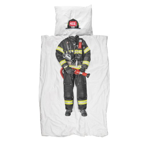 Snurk Twin Duvet Cover and Pillowcase Set for Kids and Teens 100% Cotton Soft Cover – Firefighter Duvet Cover and Pillowcase