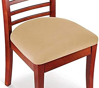 Hoovy Seat Covers Pack of 2 Protective & Stretchable - for Round & Square Chairs (Beige)
