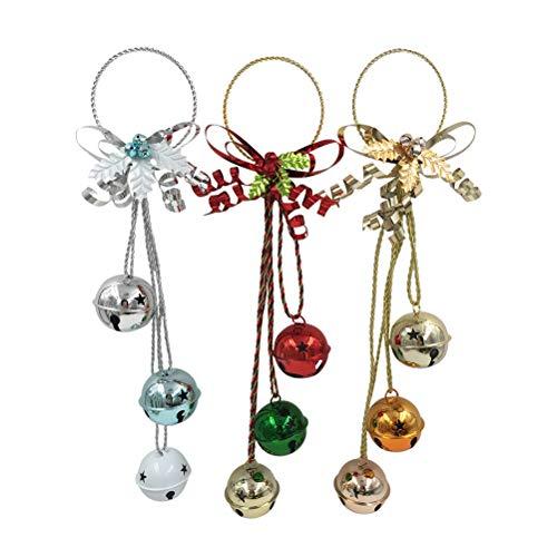 TOYMYTOY 3 perchas de puerta de Navidad con forma de campana, para colgar en el árbol de Navidad