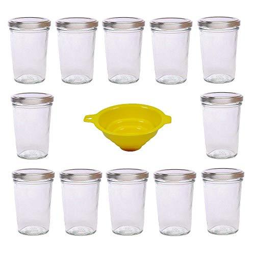 Viva Haushaltswaren - 12 x kleines Becherglas / Marmeladenglas 150 ml mit silberfarbenem Deckel, Vorratsdosen Set als Einmachgläser, Gewürzgläser, für Kuchen im Glas etc. verwendbar (inkl. Trichter)