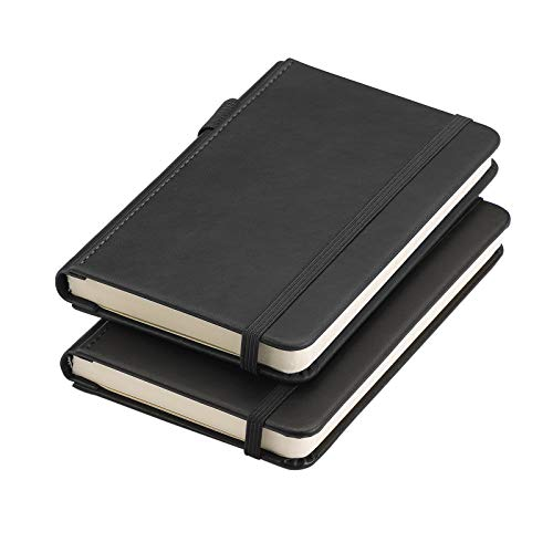 """RETTACY Pocket Notebook with Pen Holder 3.5"""" x 5.5"""" Mini Hardcover Notebook with Pocket Bookmark and Elastic Closure 100gsm Thick Paper Total 312 Pages with Page Numbering"""