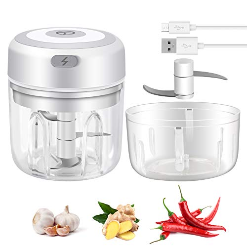 Electric Mini Garlic Chopper - Handheld Wireless Mincer Portable Electric Mini Kitchen Gadgets - Food Chopper Blender for Chili Onion Vegetables Fruits (big 250ML and small 100ML)
