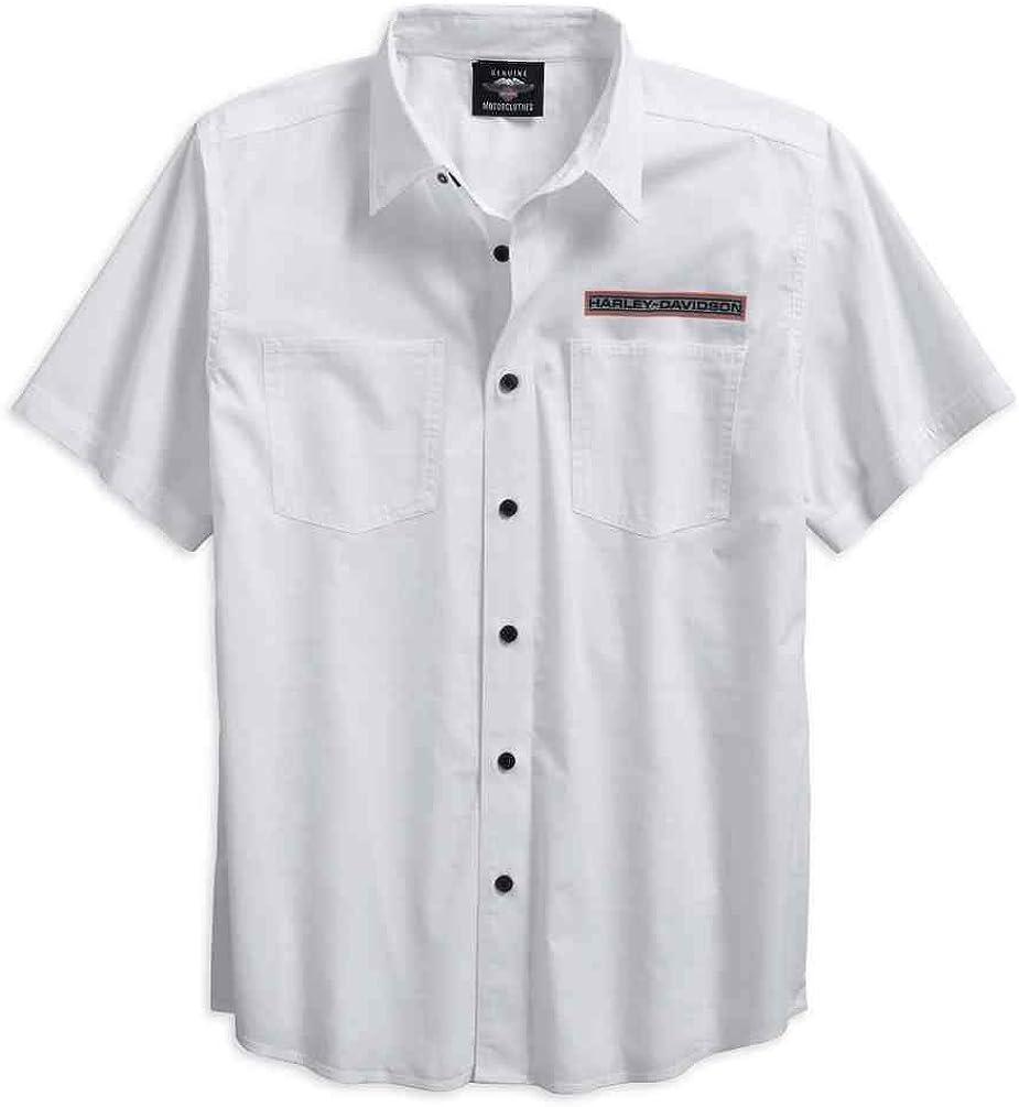 Harley-Davidson Men's Textured Dobby Print Logo Button Up Shirt 96125-18VM