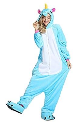 JYSPORT, pijamas de unicornio, forro polar, con capucha, pijama para niños, mujer, hombre, azul, Small