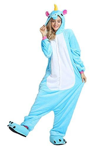 JYSPORT Tier-Schlafanzug, Unisex, Tier-Fleece-Anzug mit Kapuze, Cosplay-Kostüm, Pyjama für Kinder, Damen und Herren, Blau, Einhorn
