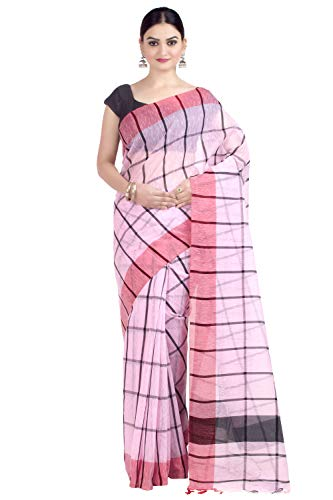 Chandrakala Women's Cotton Linen Blend Indian Ethnic Banarasi Saree with unstitched Blousepiece(1335) (Pink-1)