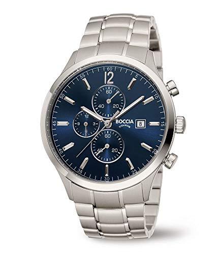 Boccia Herren Chronograph Quarz Uhr mit Titan Armband 3753-03