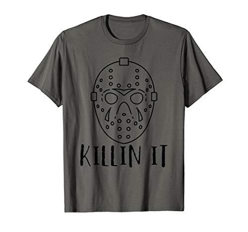 Killin It Halloween Freitag 13. Hockey-Spieler-Maske Kostüm T-Shirt