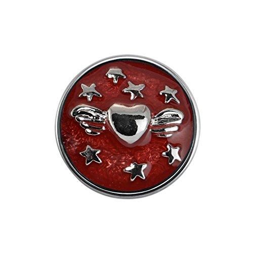 Quiges Damen Mini Click Button 12mm Herz mit Stern Rot