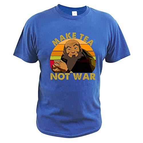 Make Tea Not War T Shirt Uncle Iroh Avatar T-Shirt Peaceful Samurai Tea Drinker 100% Cotton Soft tee Tops-Blue,L