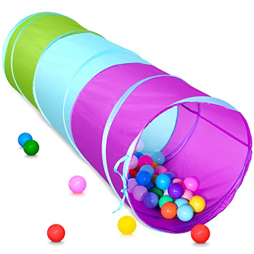 Kids Play Tunnel for Toddlers, Pop Up Crawl Through Tunnel for Babies Infants Children or Dogs, Crawling Tunnel Toys for Indoor & Outdoor Play, Gifts for Boys Girls Backyard Fun, Portable Playset