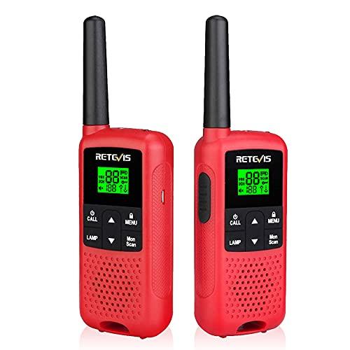 Retevis RT649B Walkie Talkie, Profesional Recargable Sin Licencia Walkie-Talkie, PMR446 16 Canales, con AA Bateria Recargable Linterna Walkie Talkie para Niños Adultos Familia(2 Piezas)