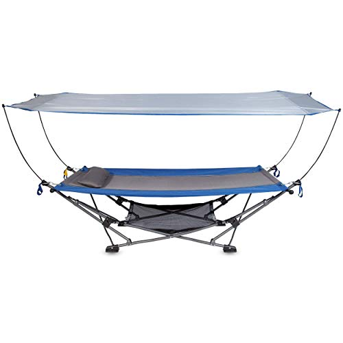 Mac Sports Collapsible Portable Hammock with Removable Canopy | Includes Pillow and Mesh Storage Net | Freestanding, Heavy Duty, Outdoor Gear for Home Backyard Beach Camping Picnic | True Blue