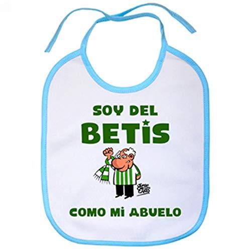 Babero frase soy del betis como mi abuelo ilustrado por Jorge Crespo Cano - Celeste