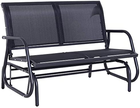Best Outsunny Outdoor Double Rocking Chair with a Comfortable Sling Fabric Backing, Steel Frame, Curved R