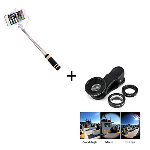Set Foto per Samsung Galaxy S4 Mini Smartphone (Mini Selfie Stick + Obiettivo Pinza 3 in 1) Android iOS Pulsante