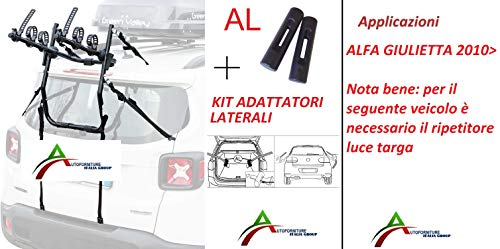 Fietsendrager gemonteerd en gebruiksklaar (3 fietsen) voor achterklep of kofferbak met zij-adapter voor de auto speciaal voor Giulietta 2010>