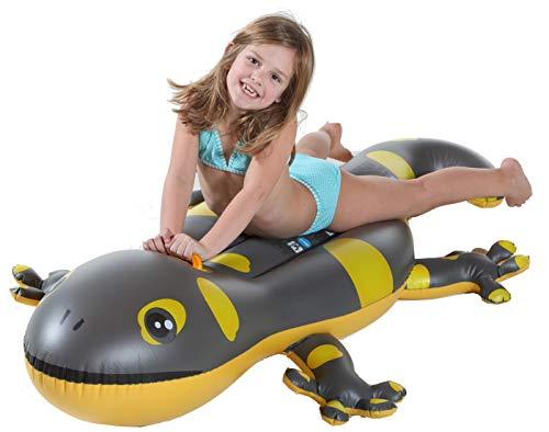 Dynamic24 Gecko Schwimmtier 170cm mit Griff Luftmatratze Reittier Wasser Spielzeug Pool Badespaß Eidechse bis 60kg