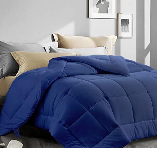 """ASHOMELI Queen Size Comforter,Cooling Comforter for Night Sweats,All Season Down Alternative Comforter,Quilted Comforter with Corner Tabs (Navy,Queen,88""""x88"""")"""