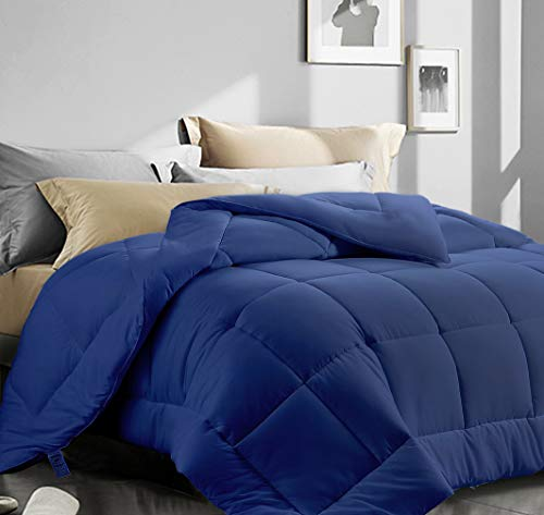 ASHOMELI Full Size Comforter,Cooling Comforter for Night Sweats,All Season Down Alternative Comforter,Quilted Comforter with Corner Tabs (Navy,Full,82'x98')